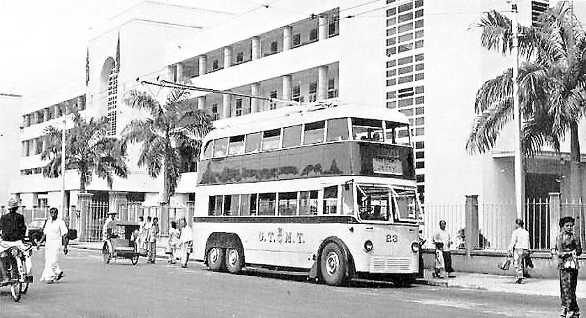 G.T.M.T. stood for George Town Municipal Transport. This double-decker trolleybus was photographed on Duke Street, next to Dewan Sri Pinang.