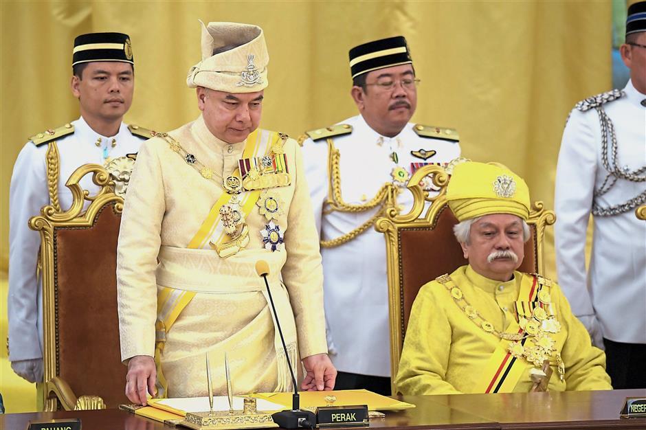 Sworn in: Sultan Nazrin taking his oath of office as Deputy Yang di-Pertuan Agong at Balairung Seri, Istana Negara. — Bernama