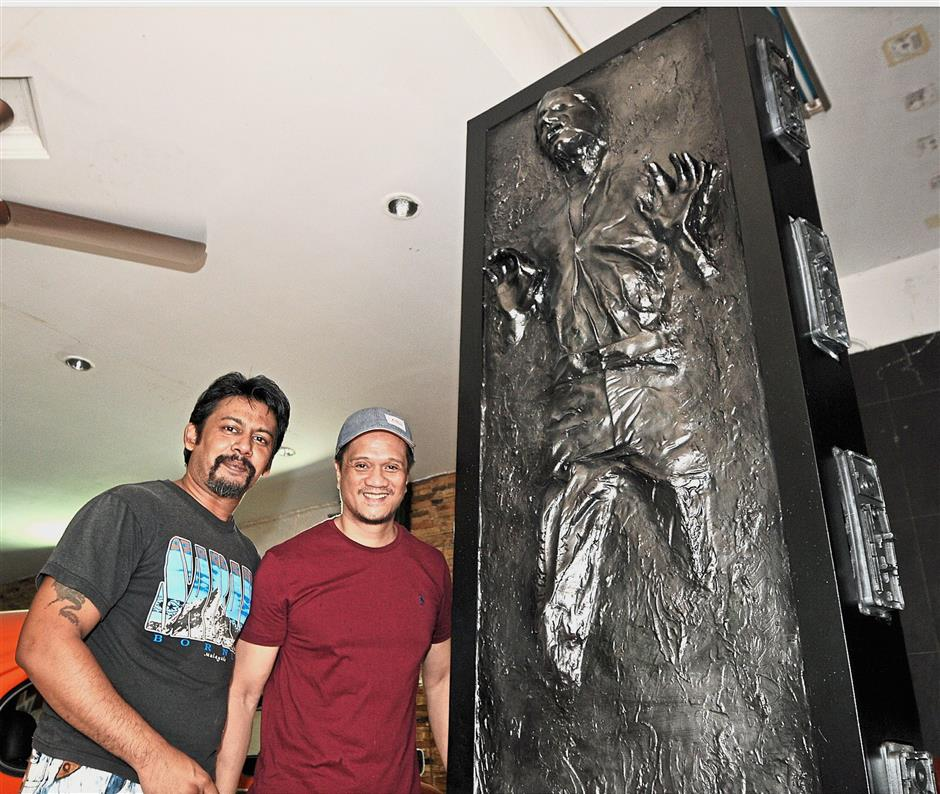 Just like the real thing: Nihal (left) and Kim with their replica of the carbonite jail that trapped Han Solo in u2018Star Wars: Empire Strikes Backu2019.
