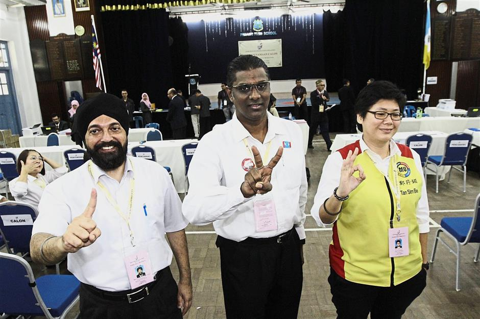 The Jelutong parliamentary seat will be a contest among three lawyers - (from left) Barisanu2019s Baljit Singh, Pakatanu2019s R.S.N. Rayer and MUPu2019s Tan Sim Bee.