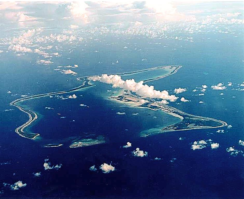 An aerial shot of the atoll of Diego Garcia.
