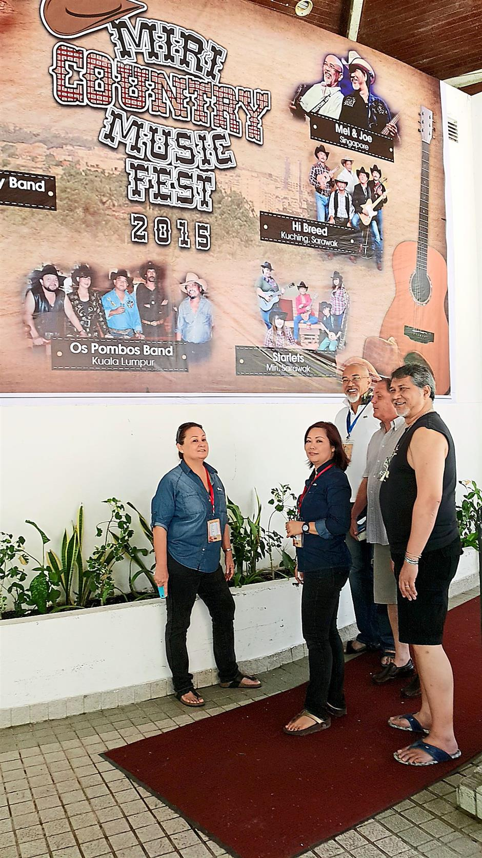 Great interest. The Miri Country Music Fest 2015 in progress in Miri is generating keen international interest. Seen here is event organiser chairperson Gracie Geikie standing left and artistes and guests. Stephen pic
