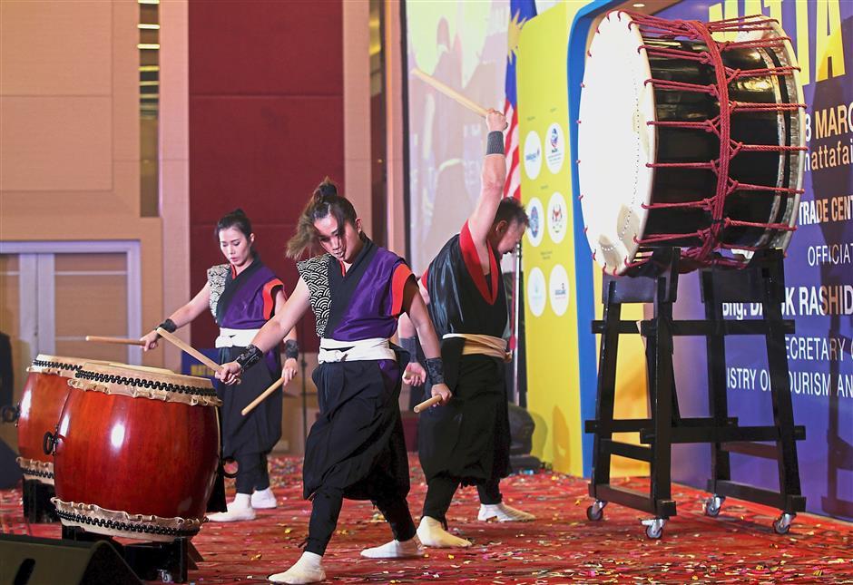 An energetic drum performance marking the launch of MATTA Fair at Putra World Trade Centre, Kuala Lumpur. u2014 Photos: AZMAN GHANI / The Star