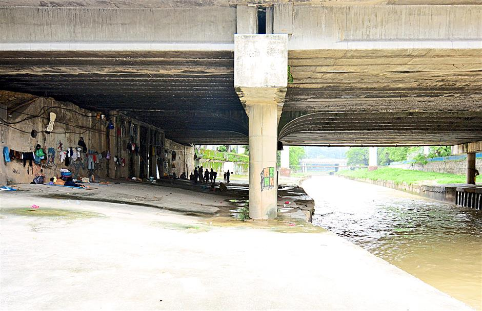 Temporary shelter: Under the bridge is where some of the homeless people call home, away from the eyes of society and authorities.