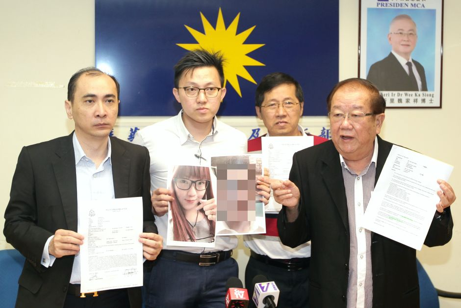 Koo Huai Hong (third from left) and Soon Hock (second from left), the father and brother of Chee Wei, are seeking information on her whereabouts after she went missing in China.
