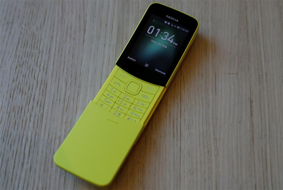 The Nokia 8110 Feature phone is seen at a pre-launch event in London, Britain February 22, 2018.  Picture taken February 22, 2018. REUTERS/Peter Nicholls