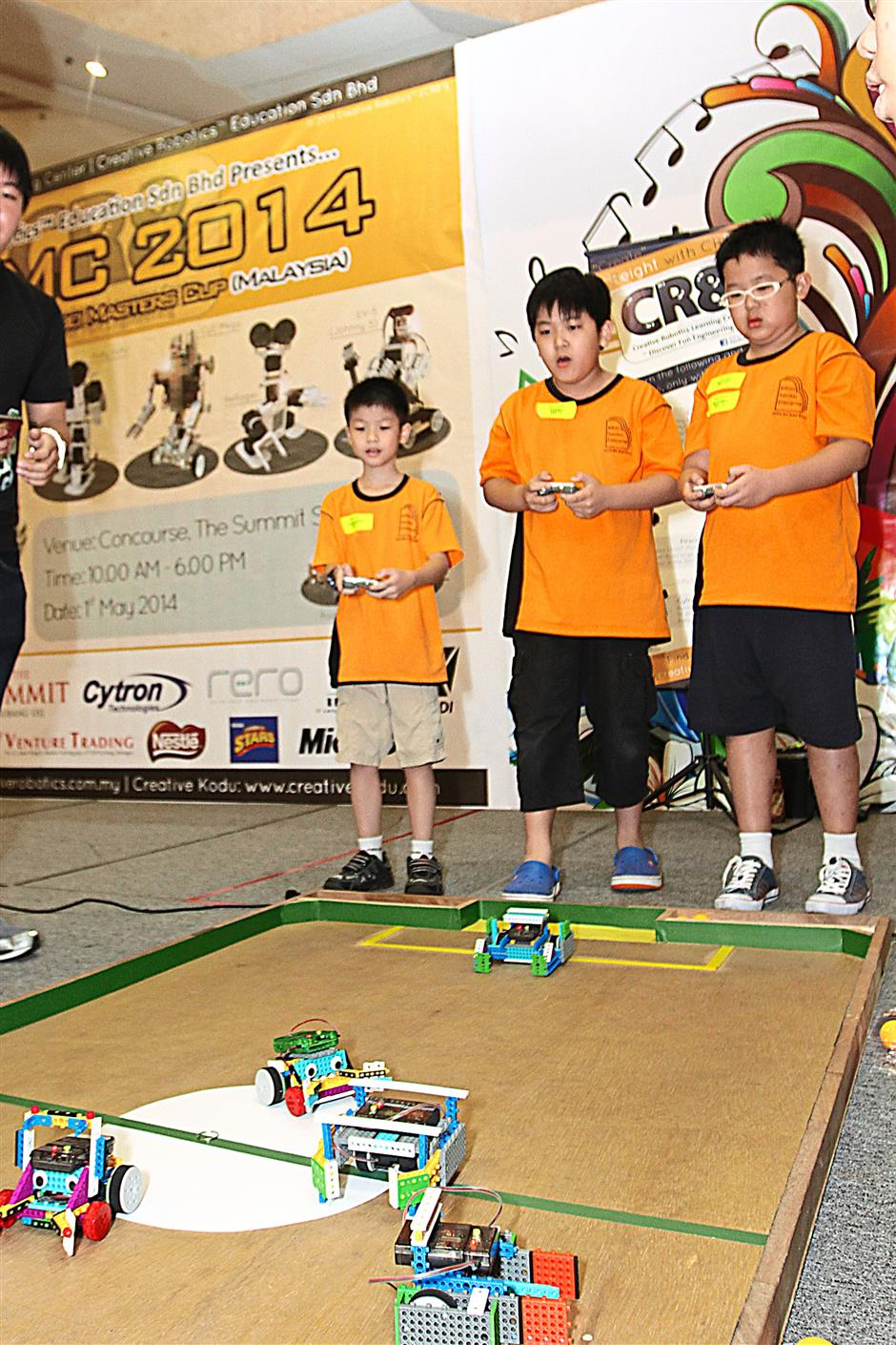 Young minds at work as they faced off during the