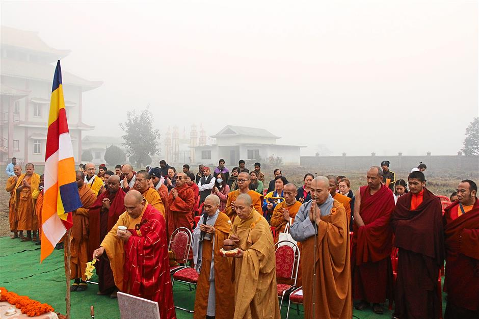 Tri Thuan (forefront, second from left) at the ground-breaking ceremony of the convention centre in Lumbini, Nepal, early this year.