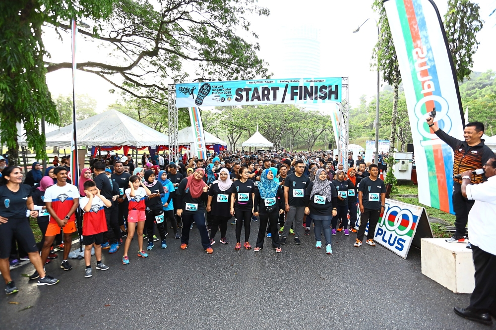 Participants all set for the run held near Padang Merbok, Kuala Lumpur.