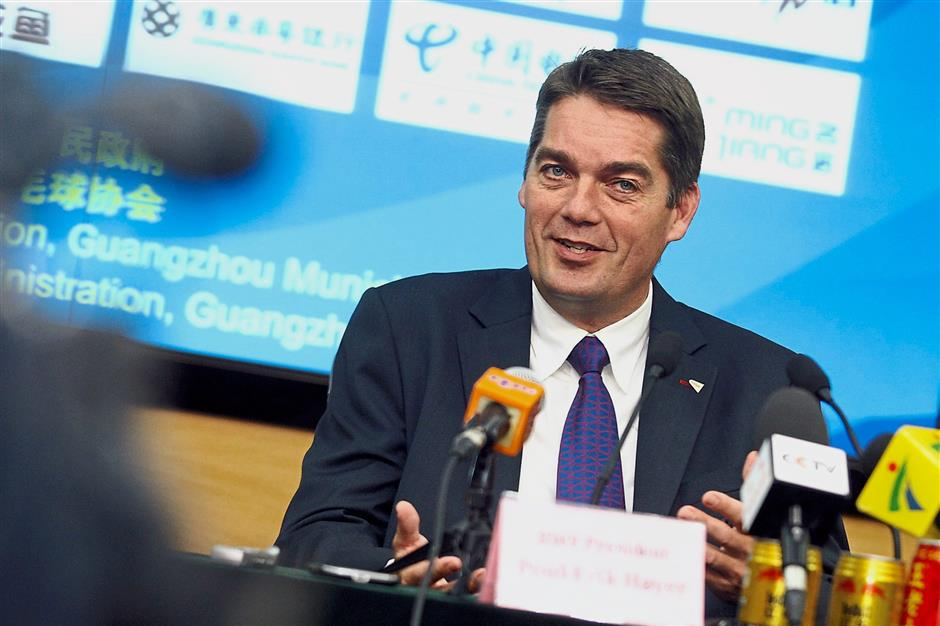 BWF President Poul-Erik Hoyer during a press conference. IZZRAFIQ ALIAS / The Star. August 11th, 2013.