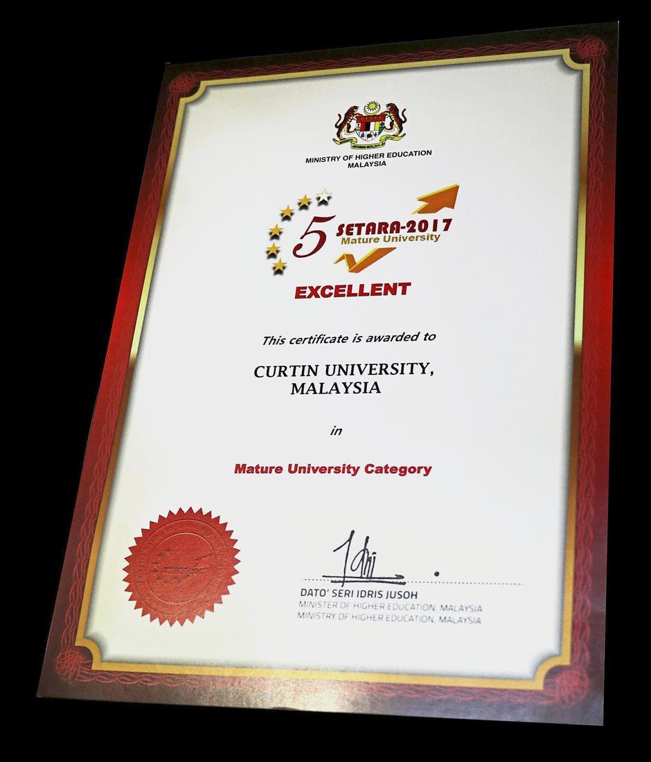 Curtin Malaysia has a five-star rating under Setara 2017.