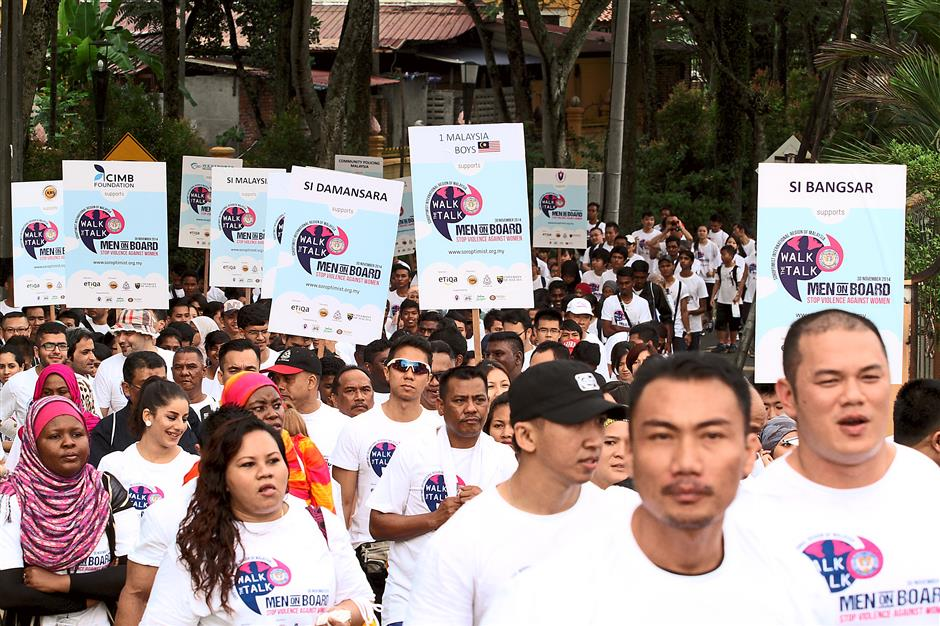 PARTICIPANTS of the Walk the Talk-Stop Violence Against Women event  turned many heads as they marched in solidarity along Jalan Gasing to Universiti Malaya last Sunday.The 700  'walkers' from various corporate organisations and non-government organisations (NGOs) took part in the 4km walk organised by the Soroptimist International Region of Malaysia (SIROM).