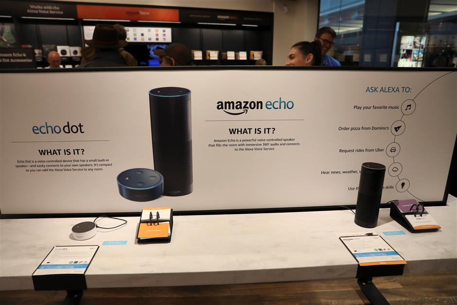 Displays for the echo dot and echo are seen inside the Amazon Books store in the Time Warner Center at Columbus Circle in New York City, New York, U.S., May 25, 2017. REUTERS/Shannon Stapleton