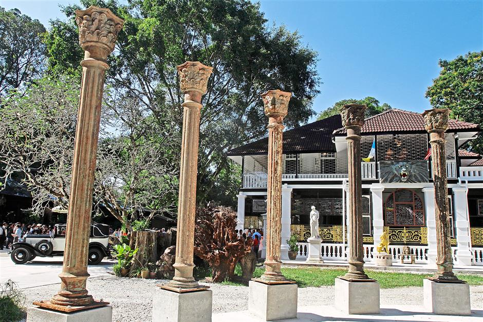 Of olden days: Pillars from the Victorian and Edwardian eras on the lawn of the new Colonial Penang Museum in Jalan D.S. Ramanathan.