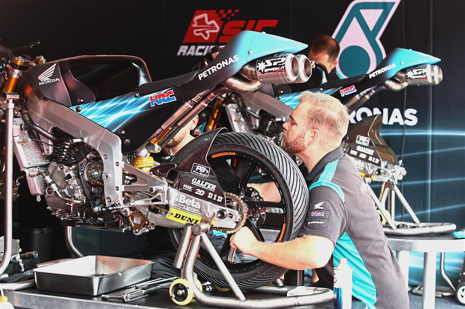 Thorough inspection: A mechanic preparing a bike yesterday ahead of Sundayu2019s race.
