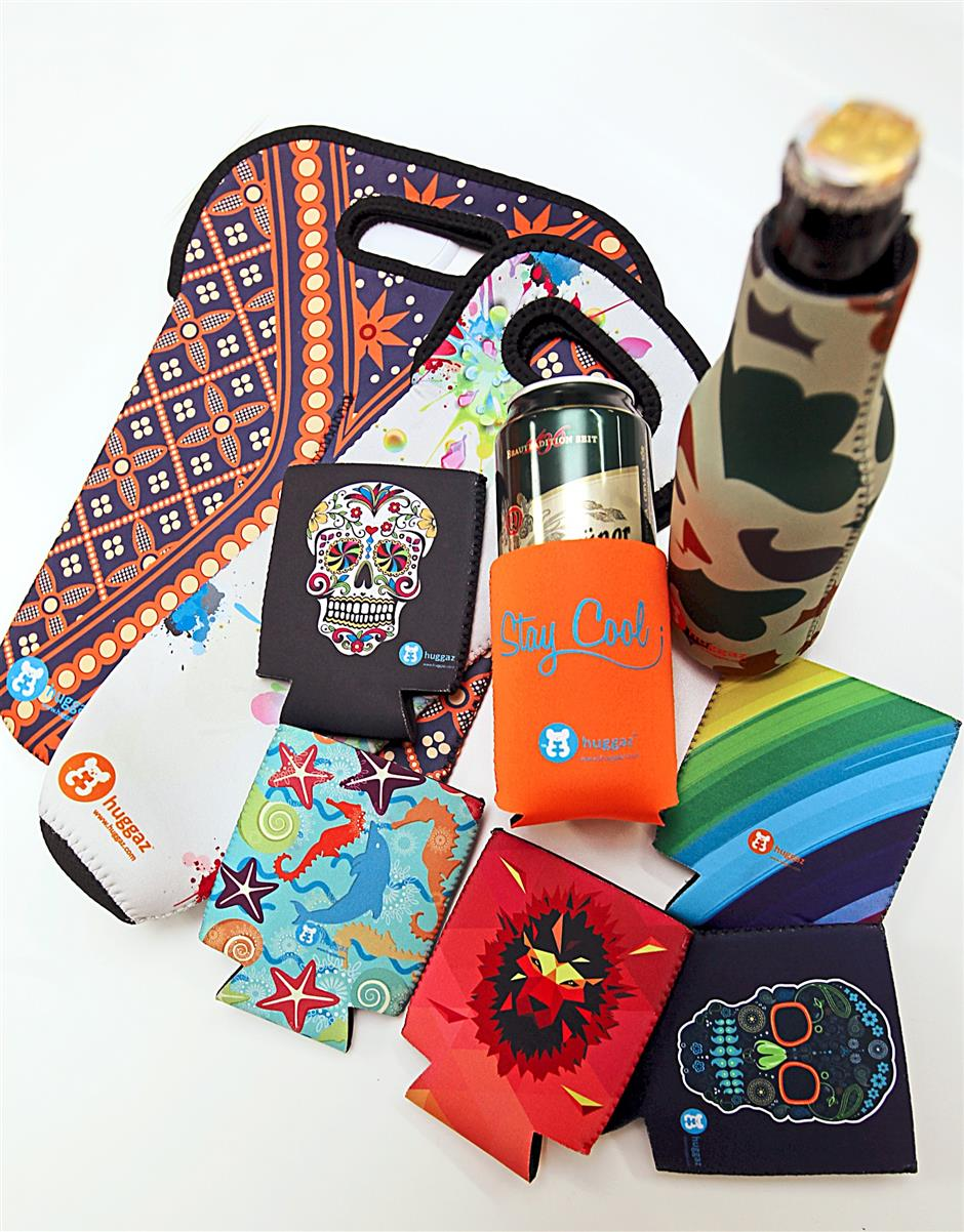 Cool koozies: Huggaz produces colourful, creatively designed koozies for cans and bottles, as well as wine bottles.