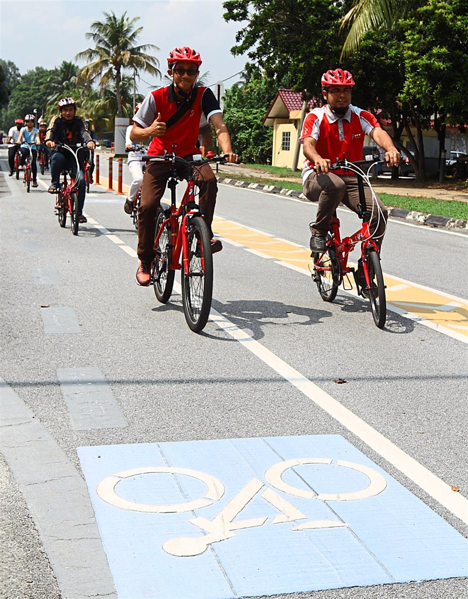 Bicycle lanes promote safe use of bicycles.