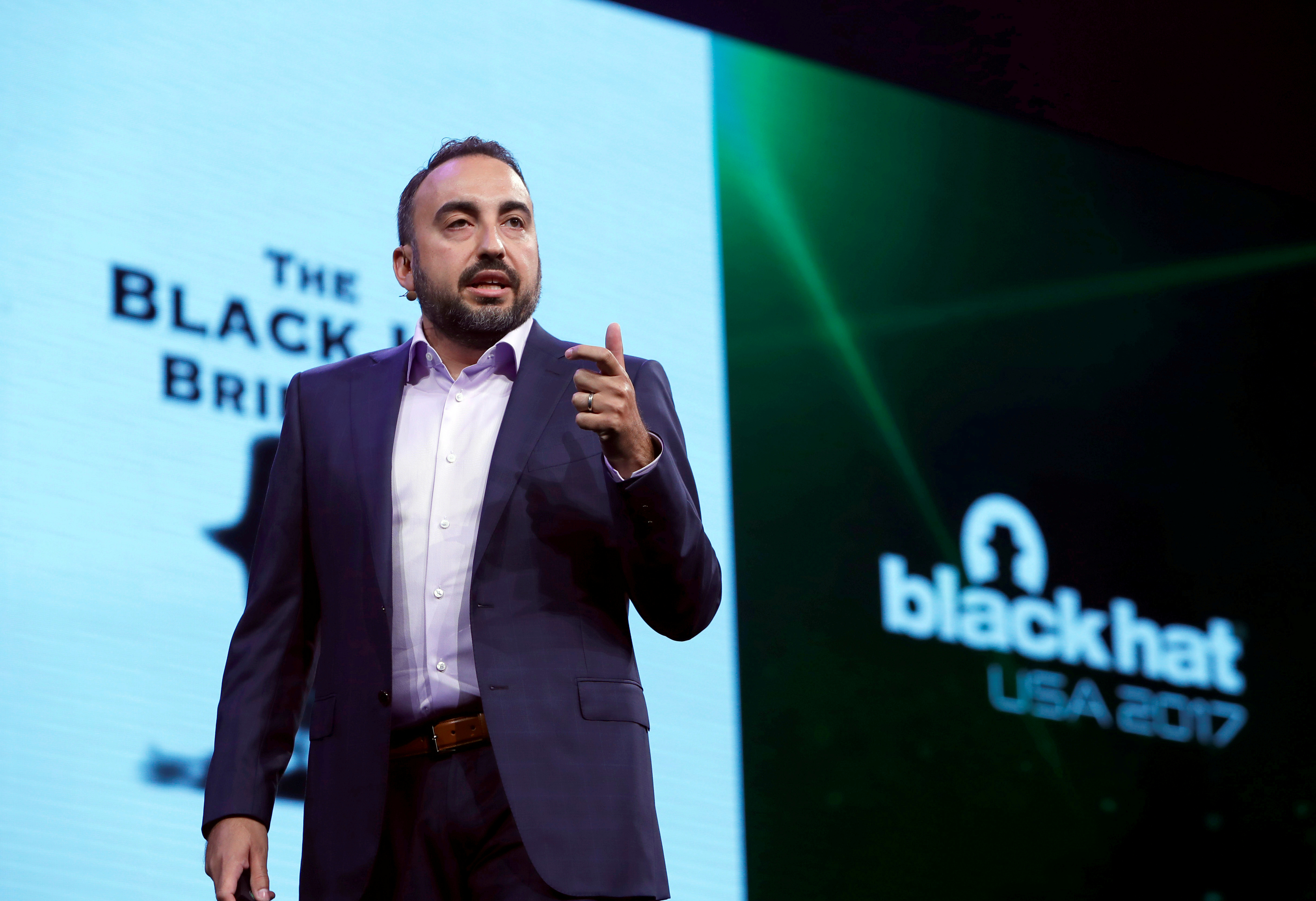 FILE PHOTO: Facebook Chief Security Officer Alex Stamos gives a keynote address during the Black Hat information security conference in Las Vegas, Nevada, U.S. July 26, 2017. REUTERS/Steve Marcus