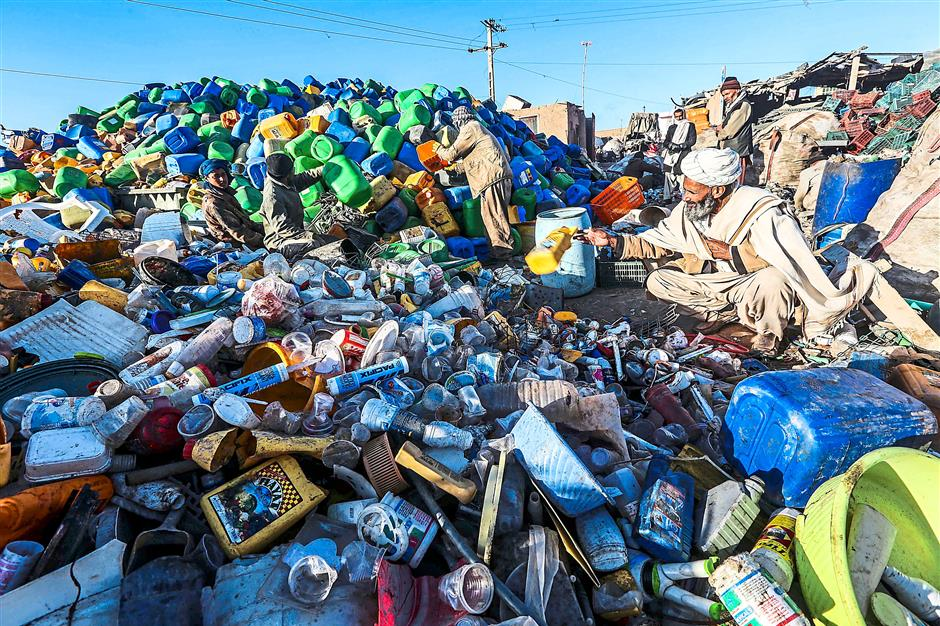 Sea of plastic: A plastic recycling factory in Herat, Afghanistan. Plastic trash that does not get collected for recycling ends up fouling the worlds oceans. Photo: EPA