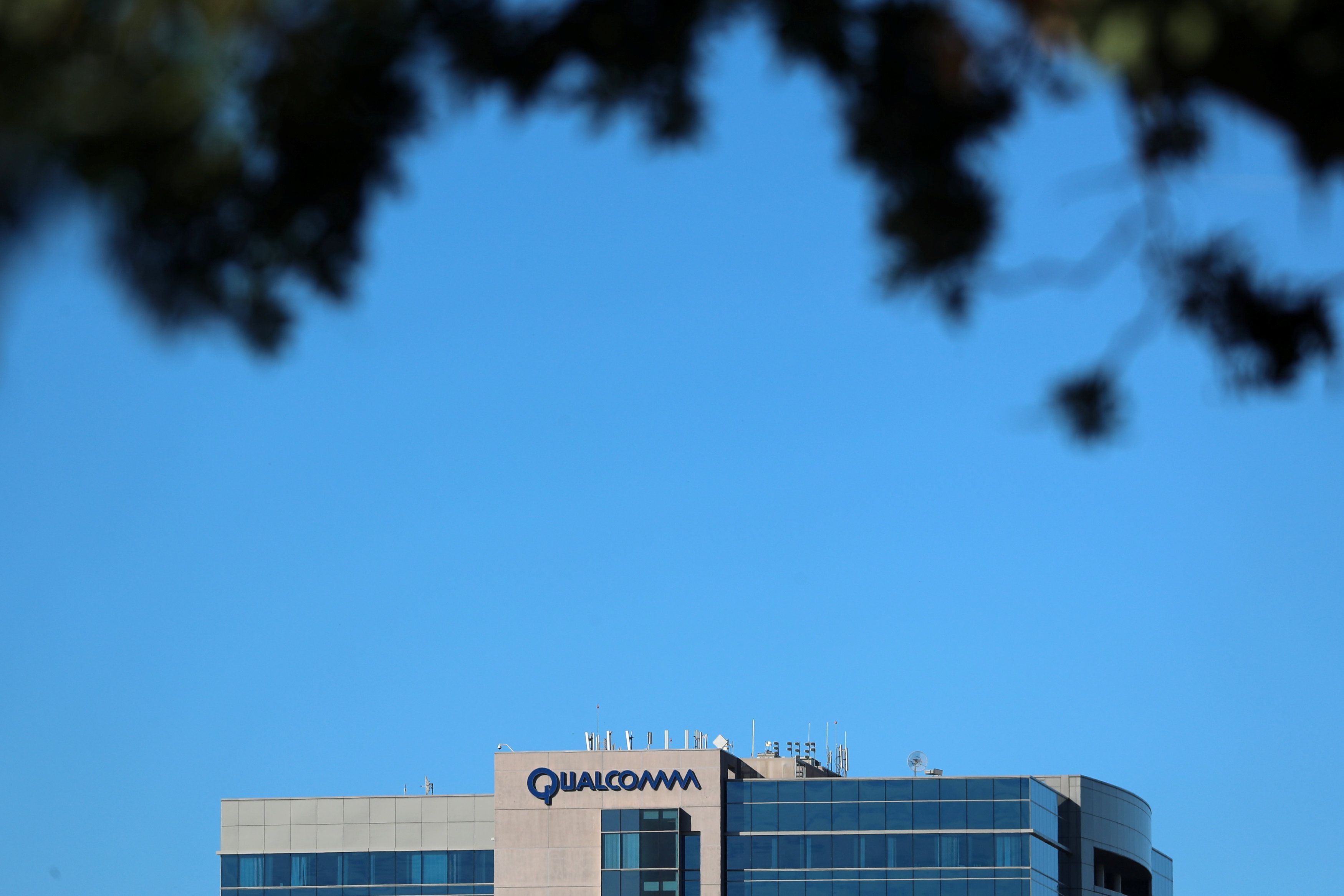A  building on the Qualcomm campus is seen, as chip maker Broadcom Ltd announced an unsolicited bid to buy peer Qualcomm Inc for $103 billion, in San Diego, California, U.S. November 6, 2017. REUTERS/Mike Blake