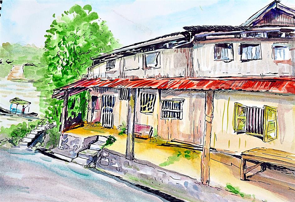 Art teacher Donjie Chiew Ta Huaâ¿TMs sketch of Siniawan old bazaar in 2011.