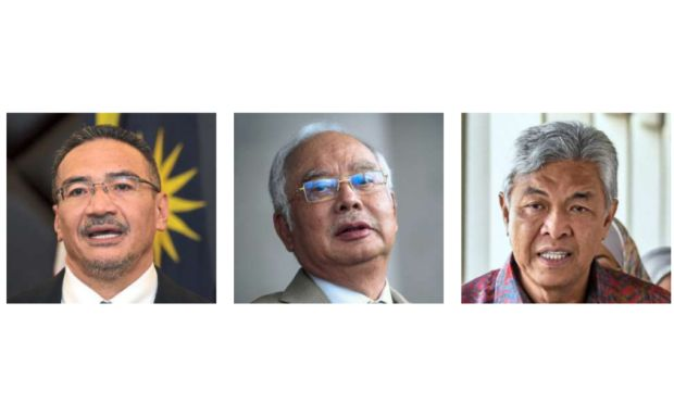 Under scrutiny: (From left) Hishammuddin, najib and ahmad Zahid have denied abusing military assets to secure votes.