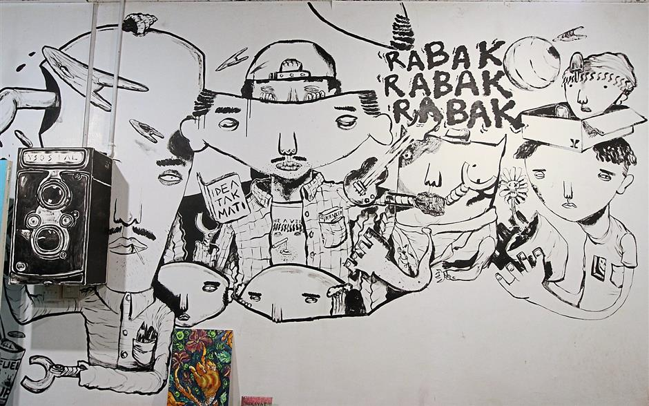 Mural at Iboh grown writing collective Projek Rabaks outlet at Wisma Central