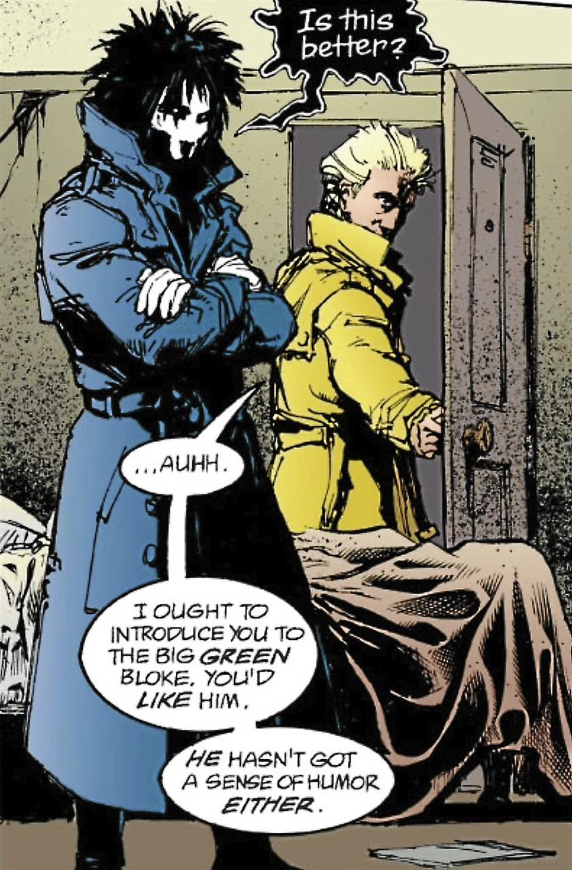 Nice trenchcoat: Morpheus takes fashion tips for John Constantine.