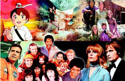 <b>Clockwise from top:</b> My TV memories are a montage of shows like <i>The Apennines To The Andes</i>, musical <i>Brigadoon</i>, <i>Little House On The Prairie</i>, <i>Sapphire And Steel</i>, <i>The Electric Company</i> and <i>The Six Million Dollar Man</i>.