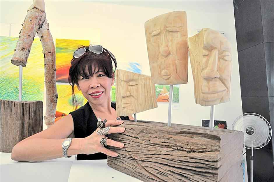 Maxine Xie with some of her sculptures.