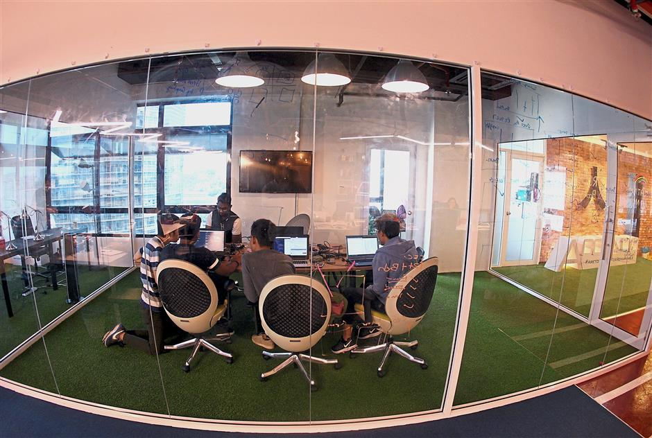 Casual space: Accendos corporate office gives you the feel of a tech startup with open spaces and programmers in casual attire.