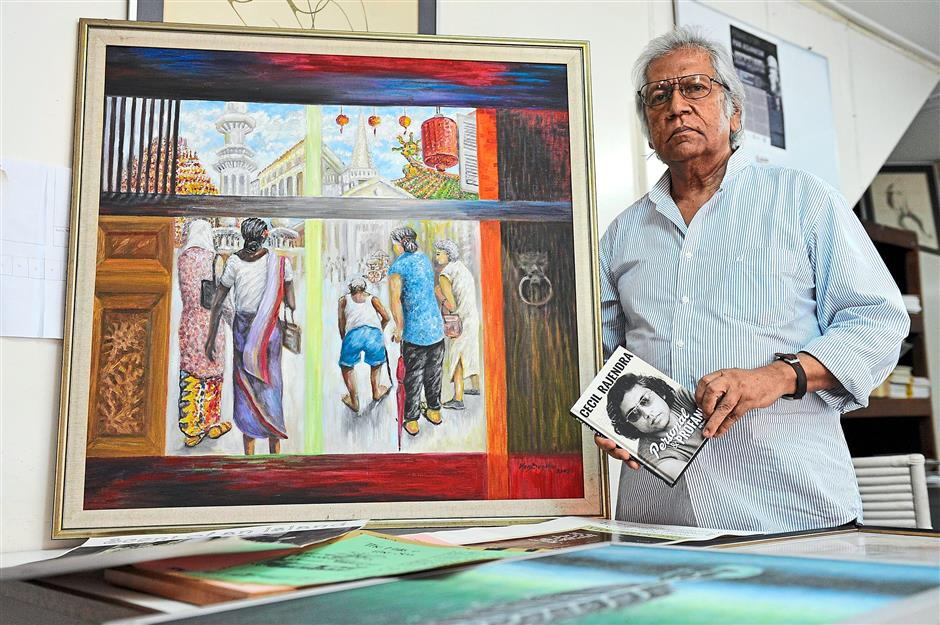 A host of paintings connected to Cecil Rajendras poems will be on display at the World Poetry Day celebrations in E&O Hotel on March 22. Star pic by: Gary Chen/The Star/March 18, 2015.