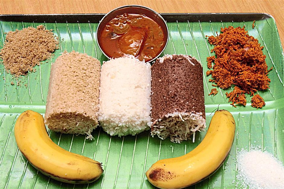 The Ceylonese have a variety of puttu (from left) made from wholemeal flour, rice flour and their signature roasted red rice flour,  can be eaten with bananas, sugar, vendhaya kolumbu or kuttu sambal.