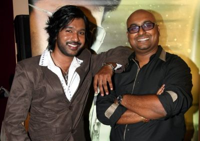 Malaysian-born actor Shures Sharma (left) with producer L.D. Saravanan at the launch of their movie, Krishna Thulasi in Kuala Lumpur.
