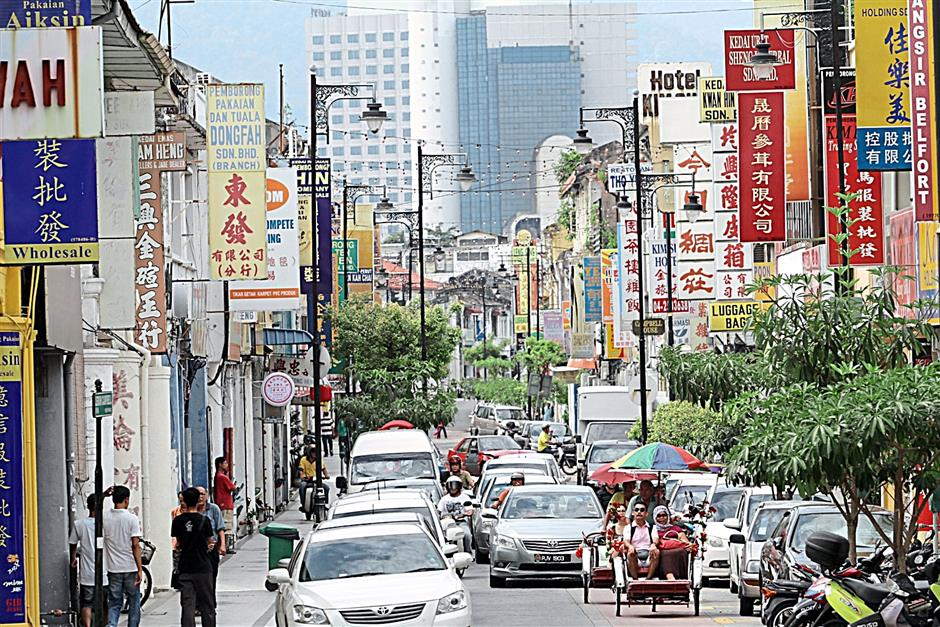 A general view of Campbell Street in Penang. Rising tourist numbers are spurring a spate of hotel projects on the island.