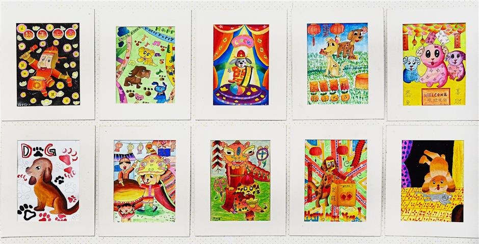 A selection of the canine artworks done by pupils from primary schools around Penang.