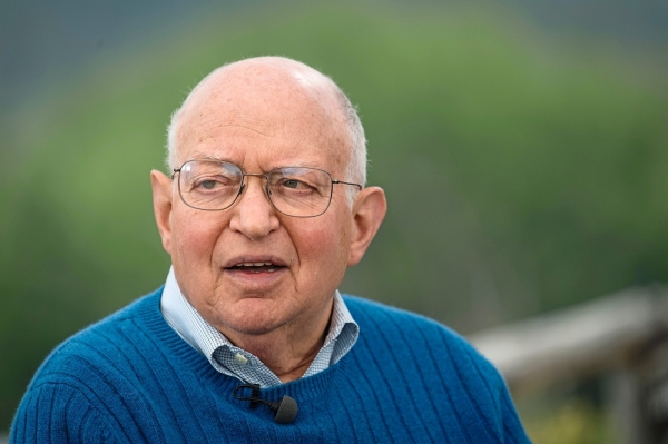 Martin Feldstein, chairman emeritus of the National Bureau of Economic Research and professor of economics at Harvard University, speaks during a Bloomberg Television interview at the Jackson Hole economic symposium, sponsored by the Federal Reserve Bank of Kansas City, in Moran, Wyoming, U.S., on Friday, Aug. 24, 2018. Feldstein discussed the outlook for Federal Reserve monetary policy. Photographer: David Paul Morris/Bloomberg