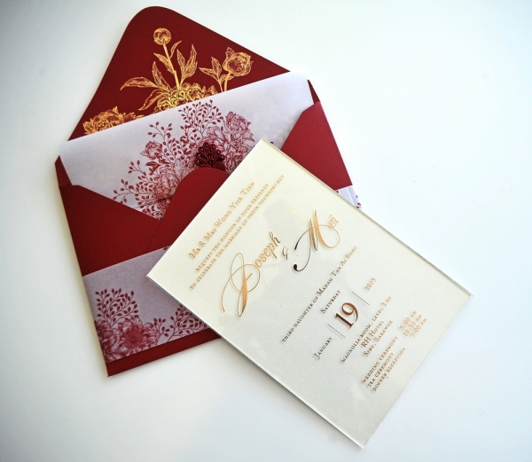 Joseph Wong, the proprietor of Paperose Wedding Sdn Bhd, had his own wedding card made in embossed acrylic and various embellishments.