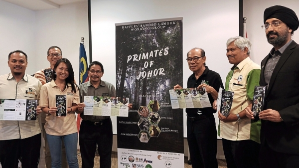 (From left) Perhilitan assistant director Saiful Mohd Zain, Dr Ang, Nature Society (Singapore) president Shawn Lum, Johor Education Department co-curricular department head Abdul Razak, MNS vice-president Vincent Chow, Prof Ahmad and Singapore Consulate-General in Johor Baru consul-general Rajpal Singh at the launch of educational brochure titled u2018Primates of Johoru2019.