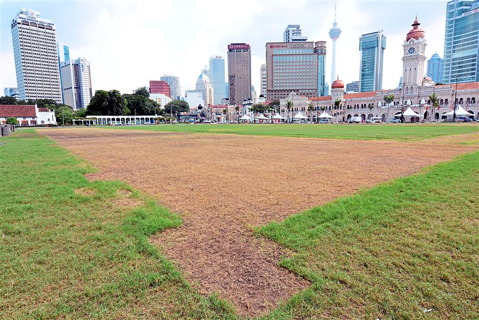 The imprint from where event booths were erected have damaged the field.