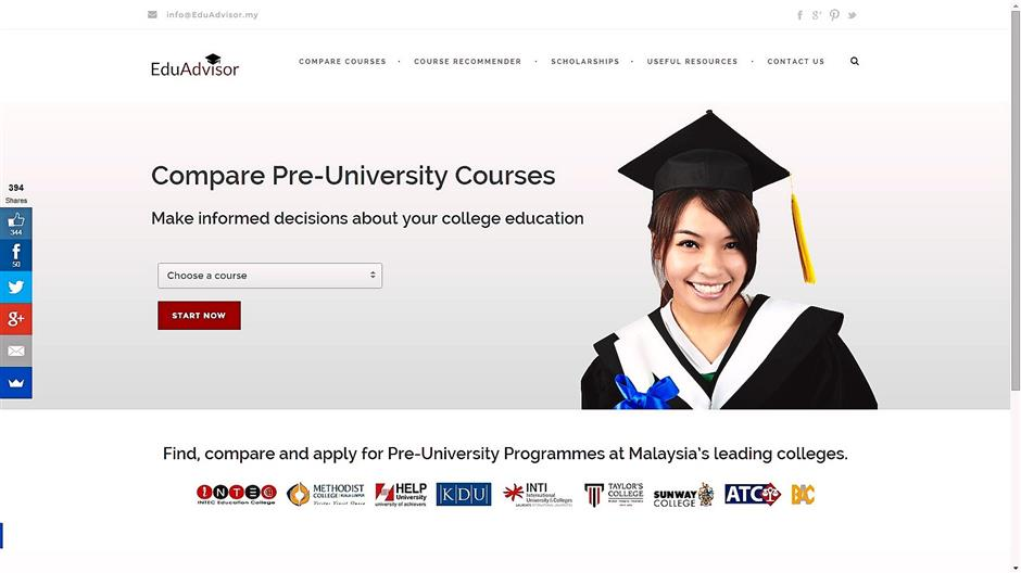 Click & compare: EduAdvisor makes it easy for SPM school-leavers to make comparisons and choose the pre-university course that suits them the best.