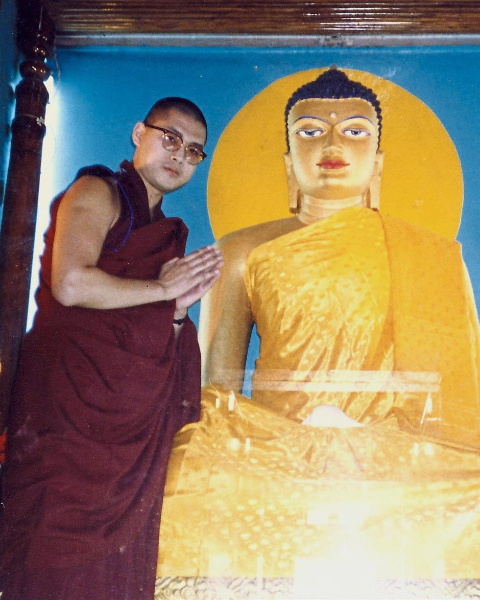 Where it all began: A young Tsem Rinpoche in Bodhgayas Maha Bodhi Temple, which marks the location where the Buddha gained spiritual awakening.