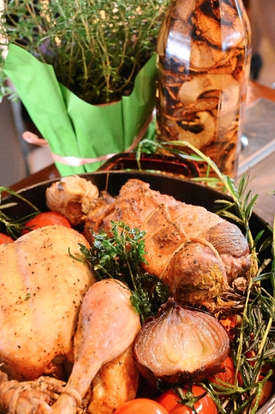 From the carving station — the roast chicken and roast lamb shoulder.