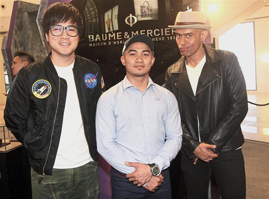 (From left) YouTube star Jin Lim (better known as Jinnyboy), track cyclist Azizulhasni Awang and rapper Altimet were among the guests at the Revolution by Time Kulture watch showcase hosted by Swiss Watch Gallery.