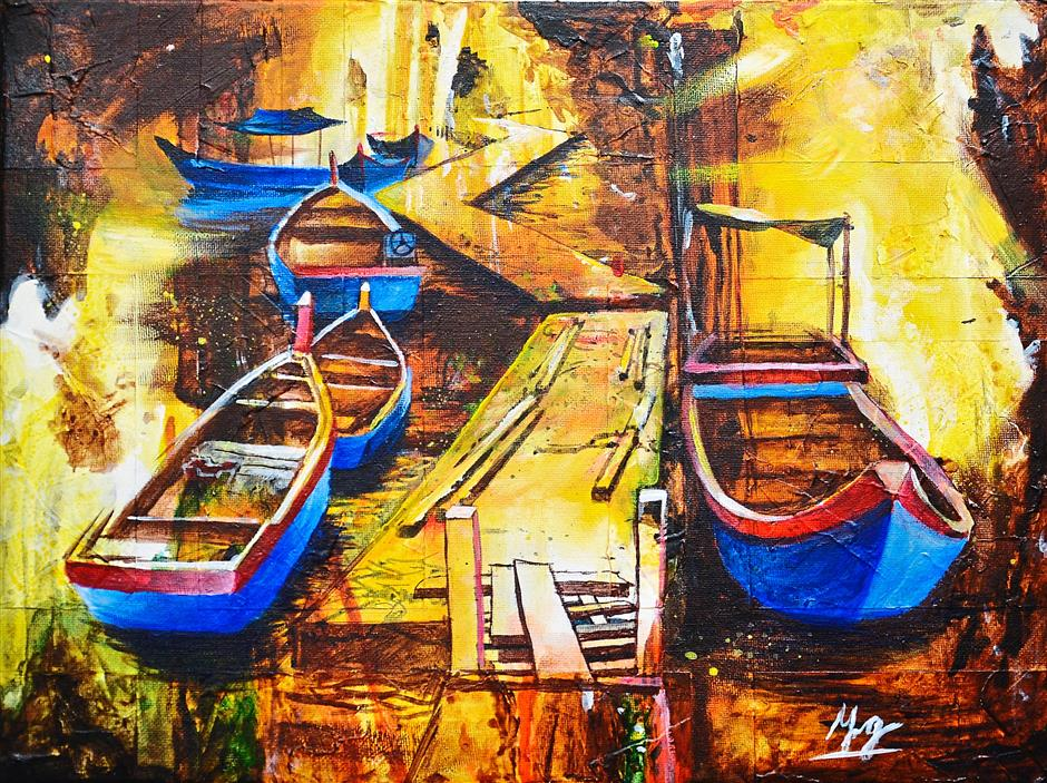 A painting of boats at a jetty by 14-year-old Koay Ke Ying.