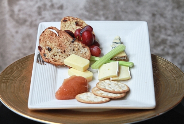 As per British tradition, a platter of cheese offering vintage stilton, mature cheddar and ripe brie was served after dessert.