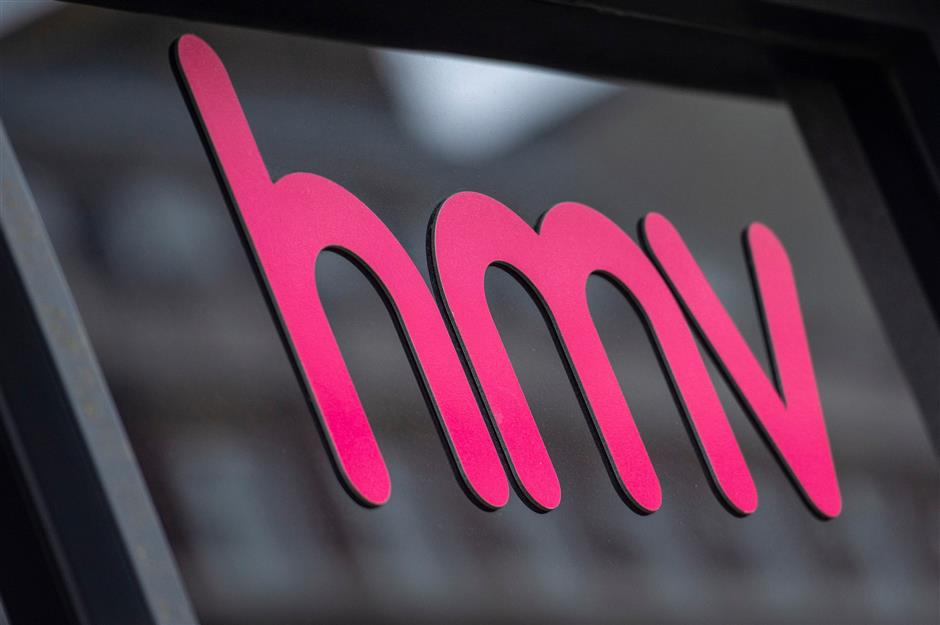 A picture shows the signage on the front of a HMV store in central London on December 28, 2018. - British music retailer HMV, which was launched by English composer Edward Elgar in 1921, has collapsed into administration after weak Christmas sales and amid a declining market for CDs and DVDs, its owner said on December 28. (Photo by Niklas HALLE\'N / AFP)
