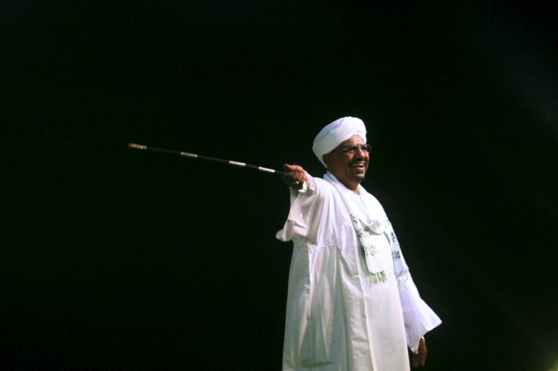 Sudan's President Omar Hassan al-Bashir speaks to the crowd after a swearing-in ceremony at green square in Khartoum, June 2, 2015. Speaking at the start of a new presidential term that extends his quarter century in power, Bashir, 71, also appealed for national unity as he grapples with rebellions and dwindling oil revenues following South Sudan's 2011 secession. REUTERS/Stringer - GF10000115451