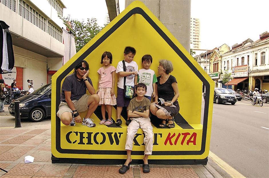 A photo booth created by the children in conjunction with the Pesta Chow Kit Kita