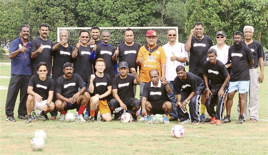 Glad to help: The football legends giving the thumbs-up to the community effort.